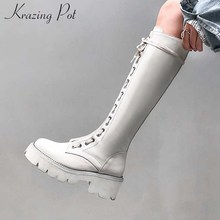 Boots Krazing-Pot Thigh Women Lace-Up Motorcycles-Style Unique Genuine-Leather Keep-Warm