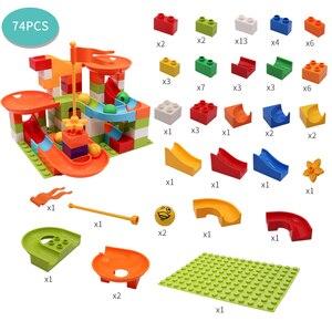 Image 5 - Marmor Rennen Run Block Große Größe Kompatibel Duploed Bausteine Kunststoff Trichter Rutsche DIY Montage Ziegel Spielzeug Für Kinder