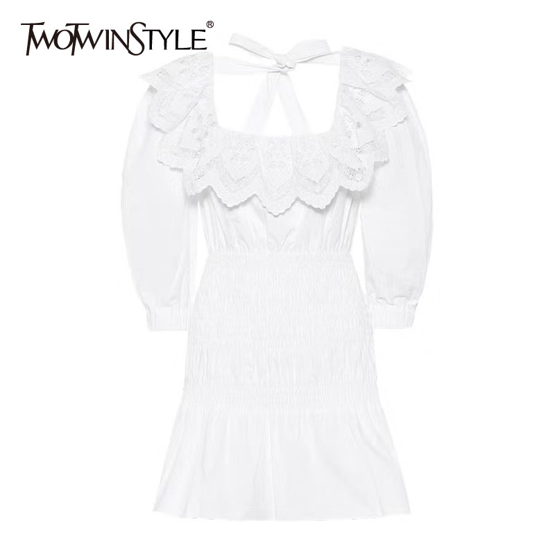 TWOTWINSTYLE Elegant Backless Lace Up Bowknot Dress For Women Square Collar Lace Ruffle High Waist Dresses Female 2020 New