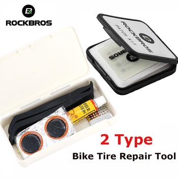 2 typ ROCKBROS naprawa opon rowerowych zestawy z klejem bez kleju Chip MTB szosowe wewnętrzna opona przebicie naprawa akcesoria narzędziowe tanie i dobre opinie Zestawy do naprawy opon White Black about 61 6 set about 11 5*6 5*1cm Patch (rubber) Pry Bar (plastic) cement (quick-dry glue)