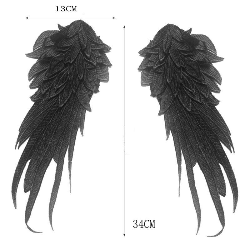 1 пара Новинка 3D кружевные нашивки с углами крыла черные белые самодельные нашивки для одежды мягкие кружевные нашивки с крыльями для плать...