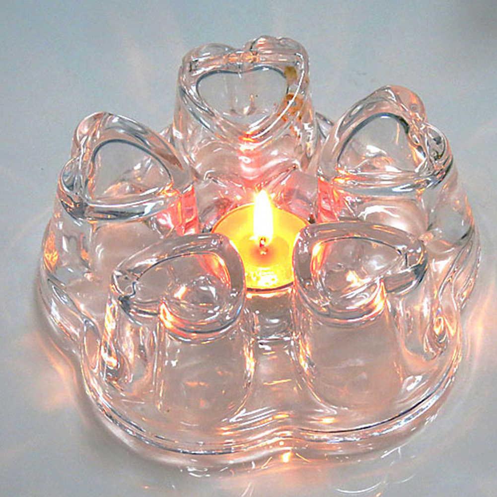 Forma do coração resistência ao calor de vidro flor bules aquecedor cafeteira base de aquecimento calor-oposição bules de chá base mais quente claro quente