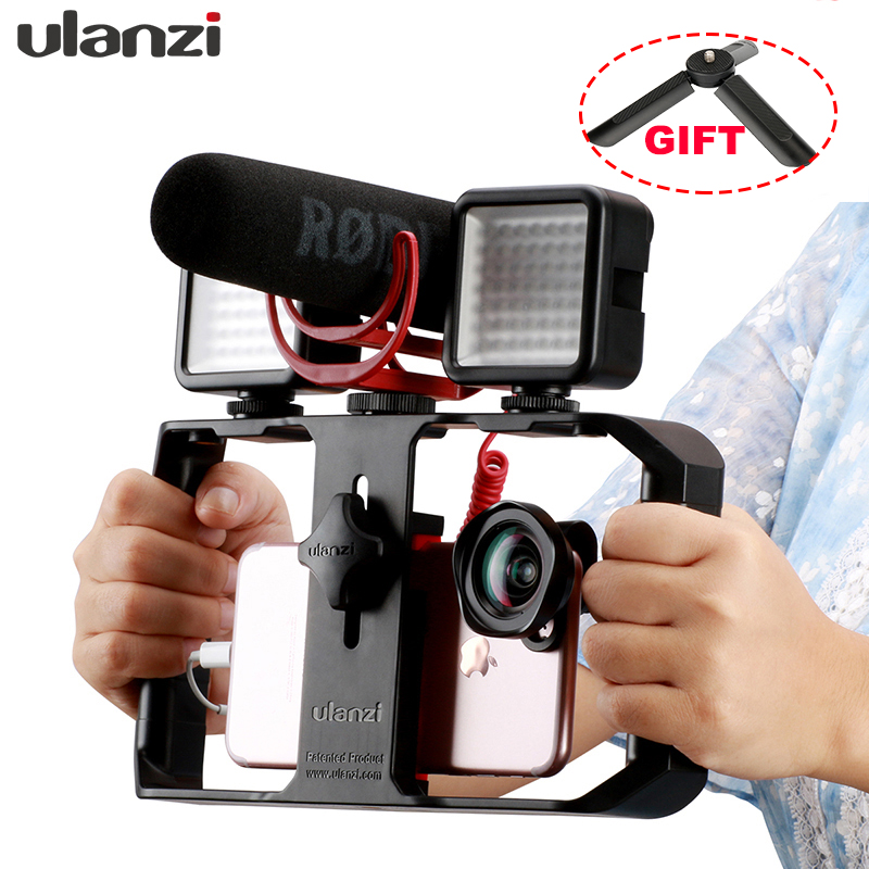 Universal Phone Tripod Mount with Cold Shoe Vlogging Setup YouTube Equipment for iPhone 11 Pro Max XS 8 Samsung Google OnePlus Ring Handle Grip ULANZI Smartphone Video Kit