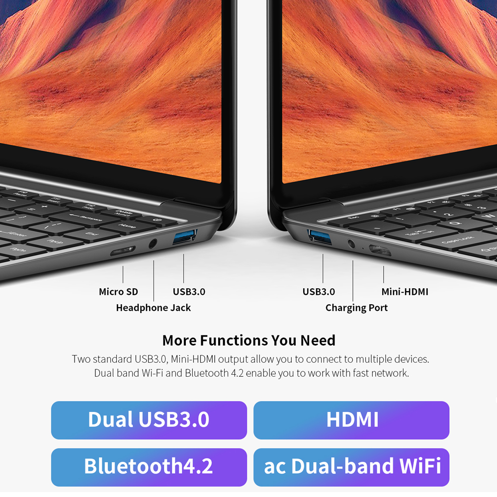 "Teclast F7S Laptop 14.1"" notebook 8GB RAM 128GB eMMC Intel Celeron N3350 Windows10 OS 1920x1080 IPS playback 4K Videos Mini-HDMI"