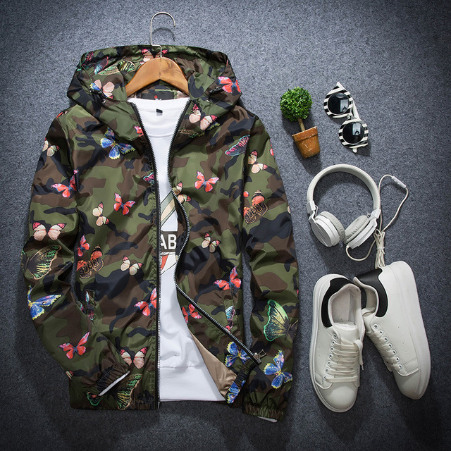 Mens Casual Camouflage Hoodie Jacket 2018 New Autumn Butterfly Print Clothes Men's Hooded Windbreaker Coat Male Outwear WS505 5