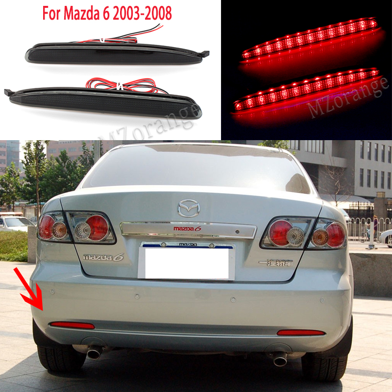 For <font><b>Mazda</b></font> <font><b>6</b></font> 2003-2008 black <font><b>LED</b></font> rear <font><b>lights</b></font> <font><b>tail</b></font> <font><b>lights</b></font> brake lamps <font><b>tail</b></font> <font><b>light</b></font> taillights rear bumper <font><b>lights</b></font> stop parking lamps image