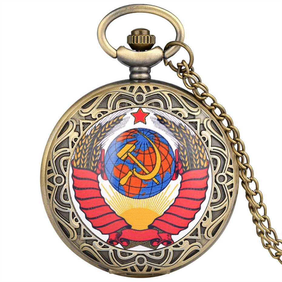 Retro CCCP Watch USSR Clock Pocket Watch Russia The Soviet Union Flag Antique Quartz Necklace Pendant Mens Womens Gift Relogios