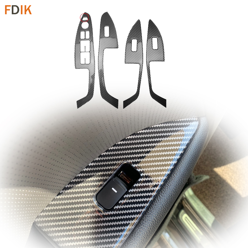 4pcs Inner Real Carbon Fiber Window Switch Button Cover Trim Panel Styling Accessories For Kia K5 Optima 2014 2015