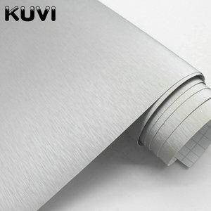 Image 2 - 10cm/20cm/30cmx152cm Car Styling Silver Metallic Brushed Aluminum Vinyl Matt Brushed Car Wrap Film Sticker Decal With Bubble