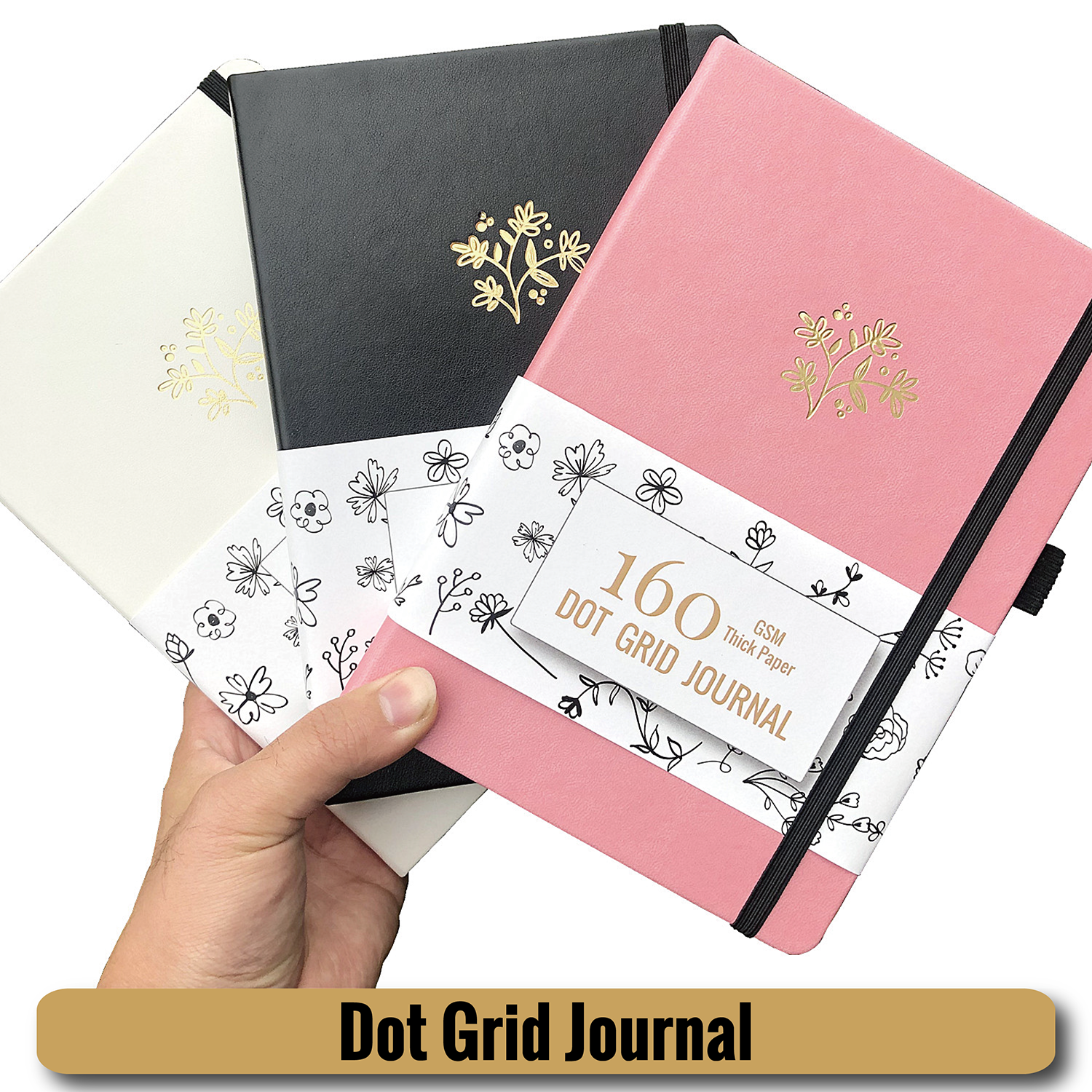 Plant LOGO Dot Gird Notebooks Drawing Journals 5X5 Mm Dotted 160Pages INS Popular