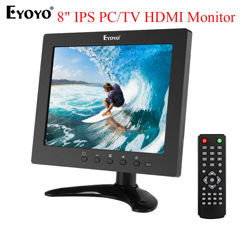 Eyoyo 8 Inch HDMI Small TV Monitor 1024x768 CCTV LCD IPS Screen HDMI VGA USB AV Remote Control Speakers DVD PC Security Display