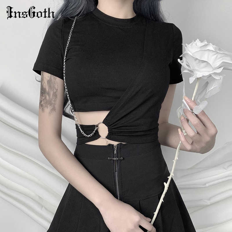 Insgoth Streetwear Zwarte T-shirts Vrouwen Harajuku Punk Tees Gothic Sexy Hollow Out Tops Zomer Mode