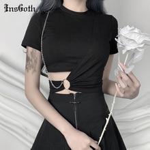 InsGoth Streetwear Black T-shirts Women Harajuku Punk Tees Gothic Sexy Hollow Out Tops Summer Fashion