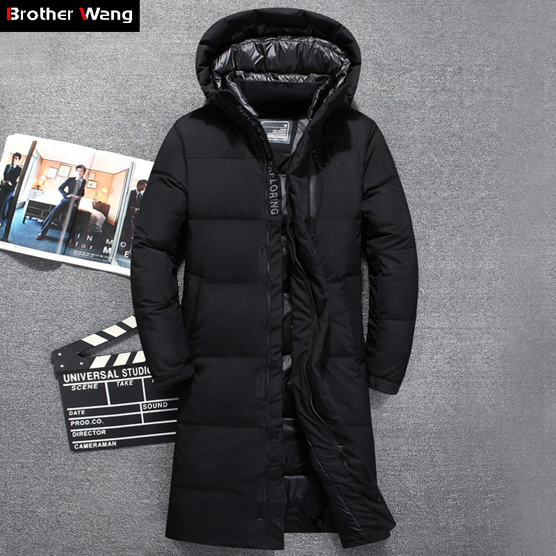 Winter Men's Thicken X-Long White Duck Down Jacket 2019 New Fashion Hooded Over The Knee Warm Parka Coat Male Brand Clothing