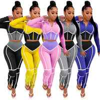 Ropa de Yoga Sexy para mujer, conjunto de Leggings y pantalones deportivos de dos piezas, con costuras contrastantes, ajustados, para Fitness y Yoga