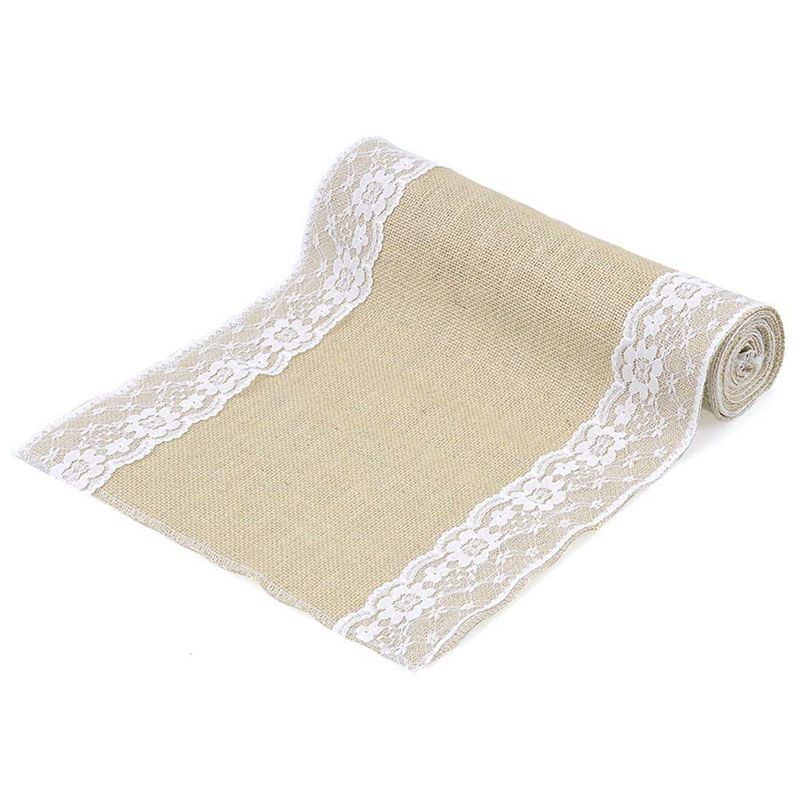Lace border burlap tablecloth Table Runners     - title=