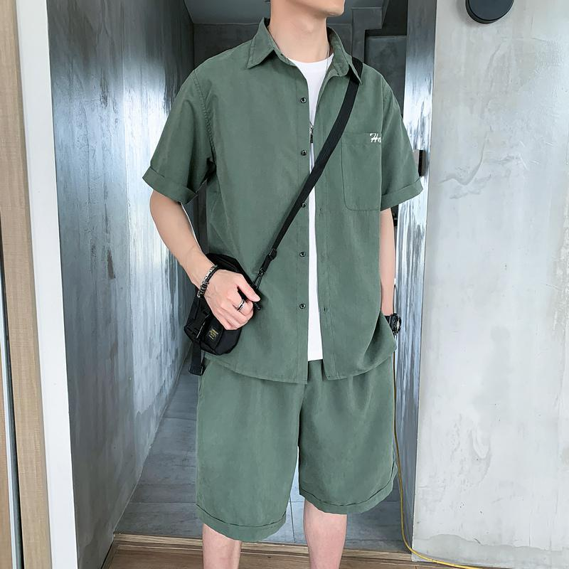 New Summer 2020 Fashion Letters Two Piece Suit Shorts Slim Fit Short Sleeve Shirt With Shorts 2 Piece Men Sets XXXL Men Clothes