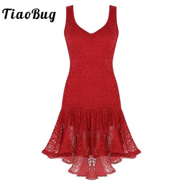TiaoBug Mulheres Dança Latina Vestido Colher Neck Lace Plissado Alta Baixa de Salão Salsa Samba Tango Dancewear Traje Performance de Palco