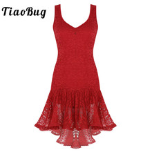 TiaoBug Women Latin Dance Dress Scoop Neck Ruffle Lace High Low Ballroom Samba Tango Salsa Dancewear Stage Performance Costume