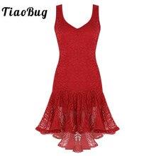 TiaoBug النساء اللاتينية فستان رقص سكوب الرقبة كشكش الدانتيل أعلى أدنى قاعة سامبا تانجو الصلصا Dancewear أداء مرحلة زي