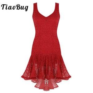 Image 1 - TiaoBug النساء اللاتينية فستان رقص سكوب الرقبة كشكش الدانتيل أعلى أدنى قاعة سامبا تانجو الصلصا Dancewear أداء مرحلة زي