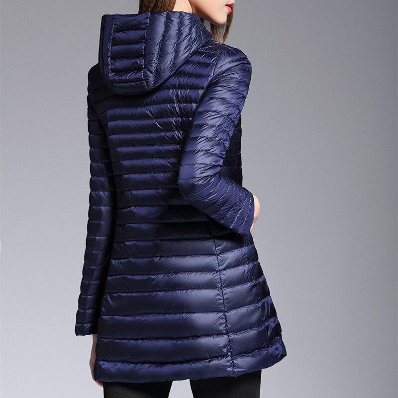 New Autumn Warm Coats Women Ultra Light 90% Duck Down Jacket Female Long Hooded Coat Parka Plus Size 4XL LX2212