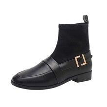 2019 Autumn winter Womens boots new British style womens shoes thick heel low elastic socks short Yasilaiya