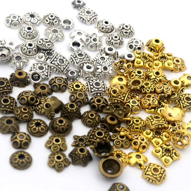 200pcs Mixed Size Tibetan Silver Small Beads Caps For Jewelry Making Diy Needlework Finding Accessories Supply