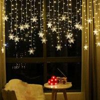 Cadena de luces de decoración para guirnalda de luces LED, lámpara de copos de nieve, cortina impermeable, iluminación de ambiente para exteriores, enchufe europeo/estadounidense, ceremonia de boda