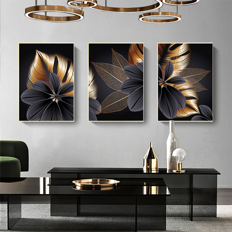 Black Golden Plant Leaf Canvas Poster Print Modern Home Decor Abstract Wall Art Painting Nordic Living