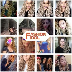 Image 3 - ファッションアイドル 28 インチの毛、合成レースフロントかつら黒人女性のためのソフトルース波の毛オンブル茶色ピンク熱にくい髪
