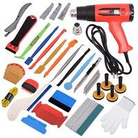 EHDIS Car Tinting Vinyl Wrap Application Tool Kit Carbon Fiber Magnet Stick Squeegee Scraper DIY Art Knife Vehicle Wrapping Tool