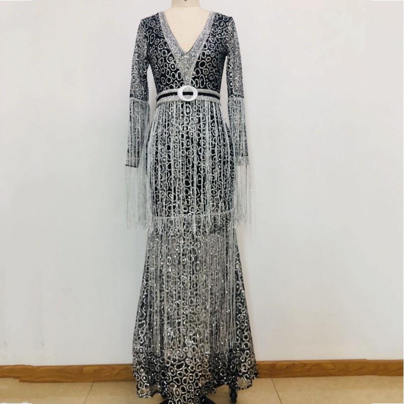 African Dresses For Women 2020 Tassel Long Sleeve V-Neck Sling Sequin Long Dress Empire Fashion New Maxi Dress Africa Clothing