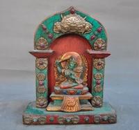 wedding decoration Tibet wood Inlay bronze turquoise gem Hold Sword Manjushri Fokan niche Shrines