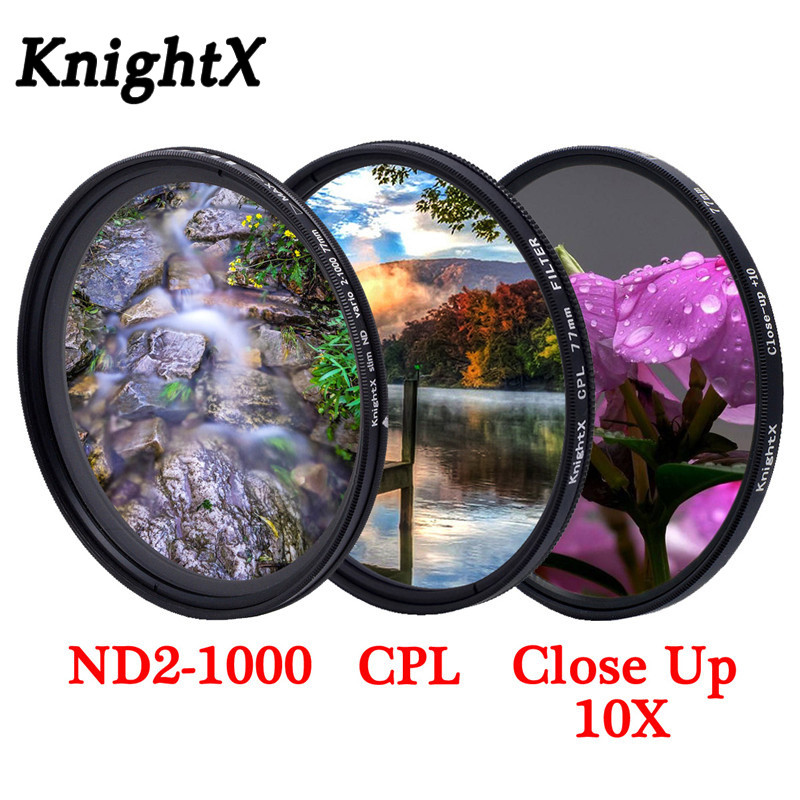 KnightX UV CPL  Filter Neutral Density Variable ND2-1000 For Canon Sony Nikon  1300d D70 500d 50d 49 52 55 58 62 67 72 77 Mm