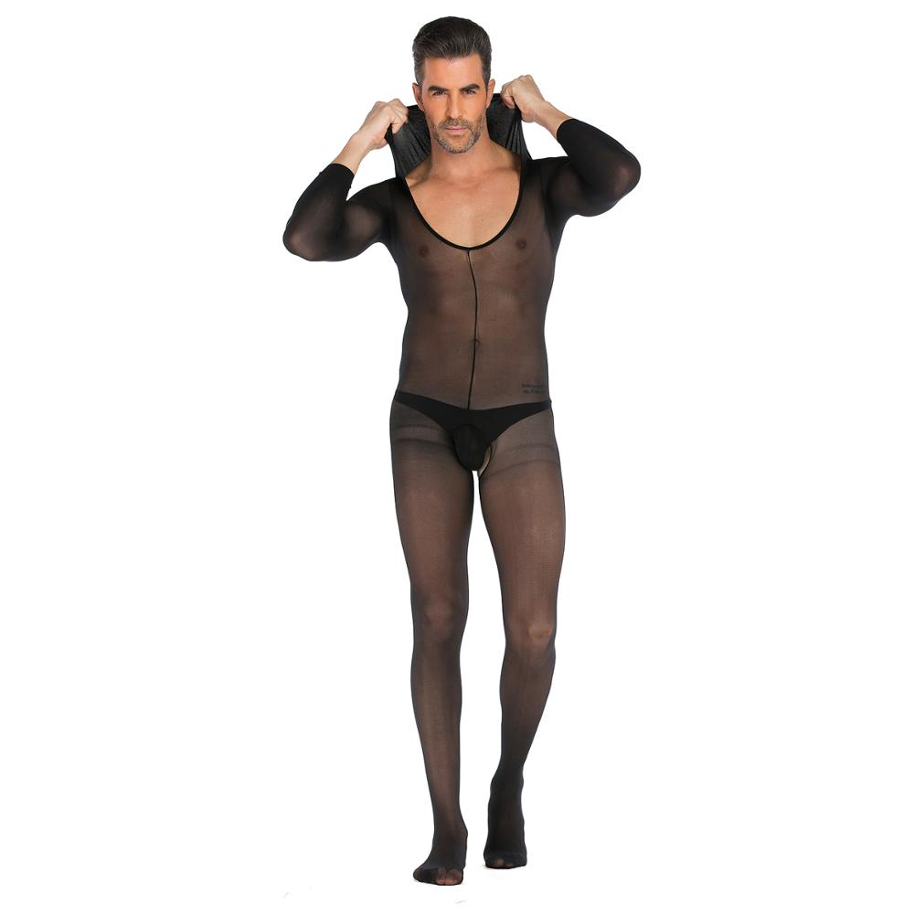 Sexy Man Silk Print Open Crotch With Hat Body Stocking Bodystocking Men Plus Size Lingerie