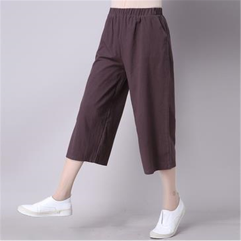 Woman Spring Plus Size Solid Mid Elastic Waist Straight Loose Calf-length Pants Female Summer Fall Sequin 98% Cotton Capris