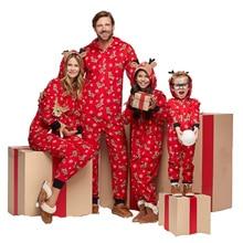комбинезон для женщин, рождественские пижамы для малышей, семейная Рождественская одежда,Рождественский семейный костюм, мужчин и детей, красная модная Пижама