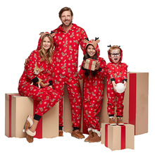 Christmas Family Suit Jumpsuit Womens Mens Kid and Baby Pajamas Clothes Red fashion pajamas
