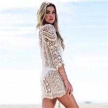 New long sleeve cutout hook flower beach blouse Holiday Beach Sun suit jacket for women bikini plus size cutout bell sleeve sequined blouse