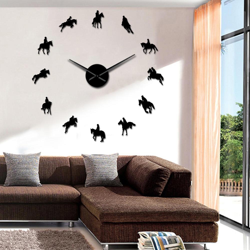 Frameless Equestrian 3D DIY Wall Clock Modern Sports Horse Race Acrylic Mirror Surface Clock Watch Horse Riding Creative Show|Wall Clocks| |  - title=