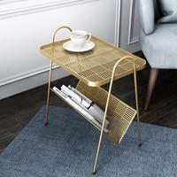 Nordic modern simple bedroom bedside table balcony small tea table iron nightstand living room sofa corner table