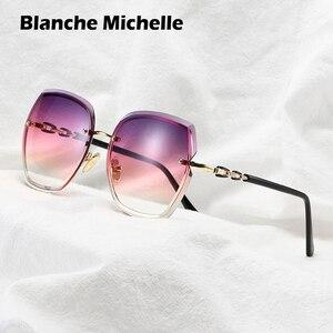Image 2 - lunette de soleil femme Mode surdimensionné lunettes de soleil femmes 2020 UV400 concepteur sans monture carré lunettes de soleil femme Vintage lunettes de soleil femmes rétro avec boîte Sunglasses Women Miroir Glasses