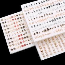 18/36/100 paia stili misti strass fiore geometrico animale cristallo plastica piccoli orecchini Set per gioielli da donna per ragazze