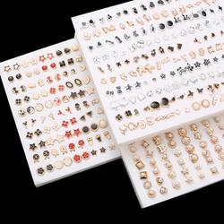18/36/100pairs Mixed Styles Rhinestone Flower Geometric Animal Crystal Plastic Small Stud Earrings Set For Women Girls Jewelry