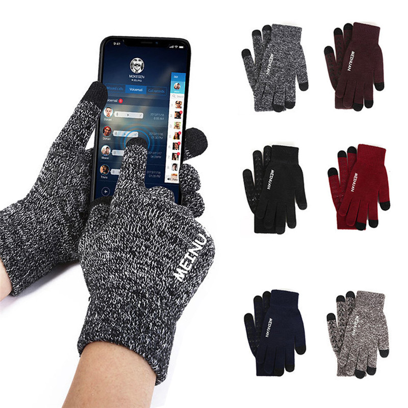 2019 Knitted Gloves For Men Winter Autumn High Quality Men's Touch Screen Gloves Cycling Gloves One Size!