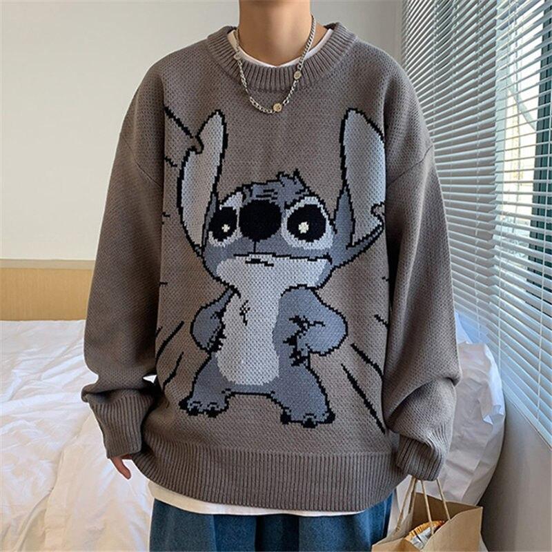 Джемпер, женский зимний теплый пуловер в стиле Харадзюку, аниме, свободный свитер, топы с круглым вырезом, эстетичная зеленая готическая оде...