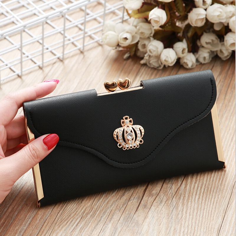 Womens Trendy PU Leather Crown Clutch Wallet Long Card Holder Purse Box Handbag Bag