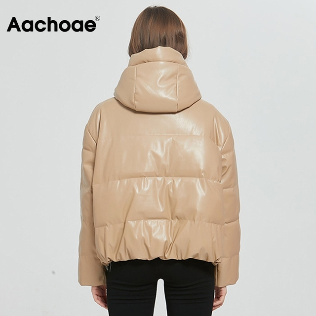 AACHOAE – Manteau en similicuir PU pour femme, rembourré, épais et chaud, parka à manches longues, 2020, hiver, veste à capuche, avec fermeture éclaire, hauts d'extérieur 4