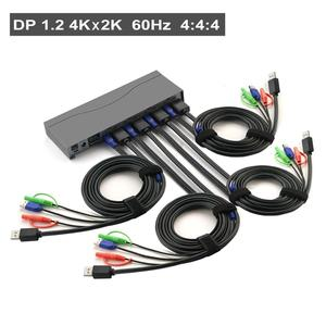 4Port Displayport KVM Switch , DP KVM switch with Audio and Microphone Resolution Up to 4Kx2K@60Hz 4:4:4
